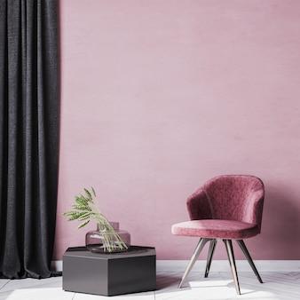 黒い木の椅子とスタイリッシュな読書コーナーエリアのカーテンのインテリア。赤い壁の背景。スタイル付きストック写真。室内装飾 。