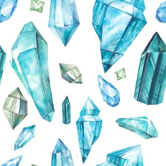 Акварельные кристаллы бесшовные модели. ручная роспись зеленых и синих драгоценных камней, повторяющих текстуру, изолированные