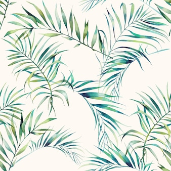 夏のヤシの木とバナナの葉のシームレスなパターン。明るい背景に水彩の緑の枝。手描きのエキゾチックな壁紙デザイン