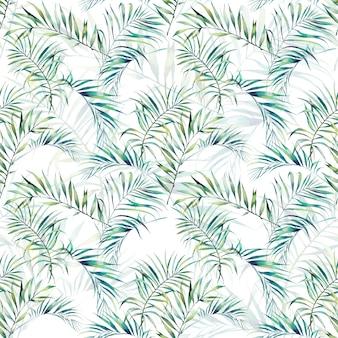 夏のヤシの木は、シームレスなパターンを残します。白い背景の水彩画の緑の枝。手描きのエキゾチックな壁紙デザイン