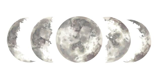 水彩の月の満ち欠け。手描きの要素のコレクション。