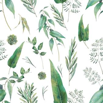 フローラの壁紙デザイン。手が白い背景の上の緑とのシームレスなパターンを描画