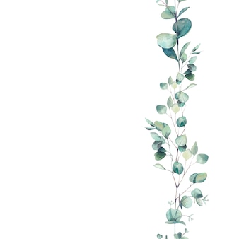 Акварель эвкалипта ветви орнамента. ручная роспись цветочные повторяющаяся рамка, изолированные на белом фоне.