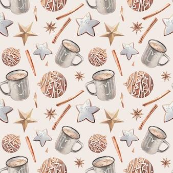 Рождественская еда бесшовные модели. акварельное печенье и структура чашки какао.