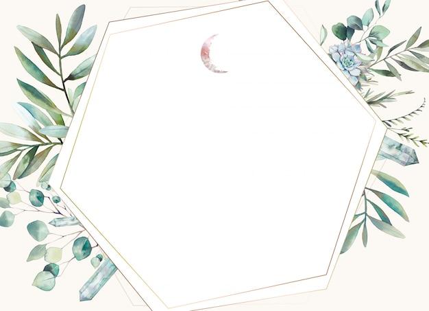 六角形の花のフレーム。緑、シダの葉、多肉植物、結晶、月と手描き水彩画カードデザイン。挨拶や結婚式のテンプレートを使用する準備ができました。