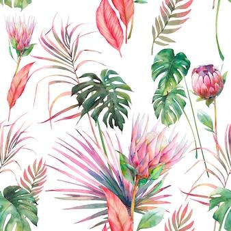 水彩の熱帯植物の壁紙。ヤシの木の枝とモンステラの葉とエキゾチックな花。