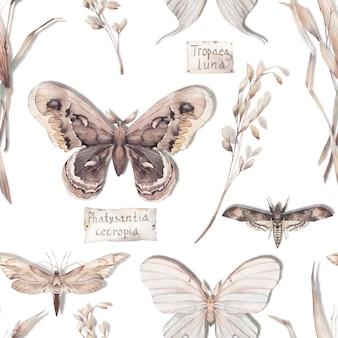 Акварельная бабочка бесшовный образец. нарисованная рукой текстура лета с различными бабочками на белой предпосылке. повторяя дизайн обоев