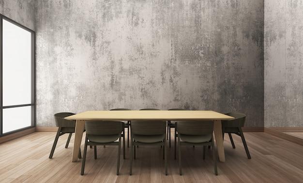 木製のテーブルと椅子のあるダイニングと会議室
