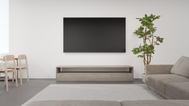 Стулья на бетонном полу светлой столовой возле гостиной и диван против телевизора в современном пляжном домике или роскошном отеле.