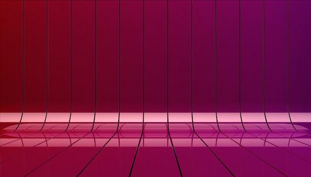 赤と紫のリボン背景イラスト。ショーケースのテンプレートとしてのバックグラウンドステージ。