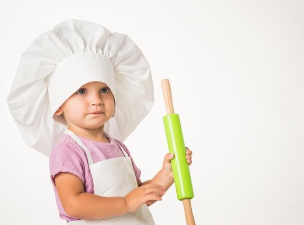 シェフの帽子でかわいい子供の肖像画