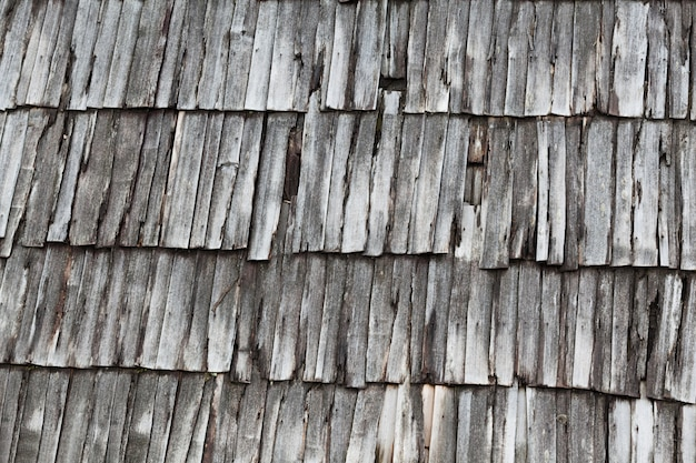 古い灰色の木製の板からカバーする屋根