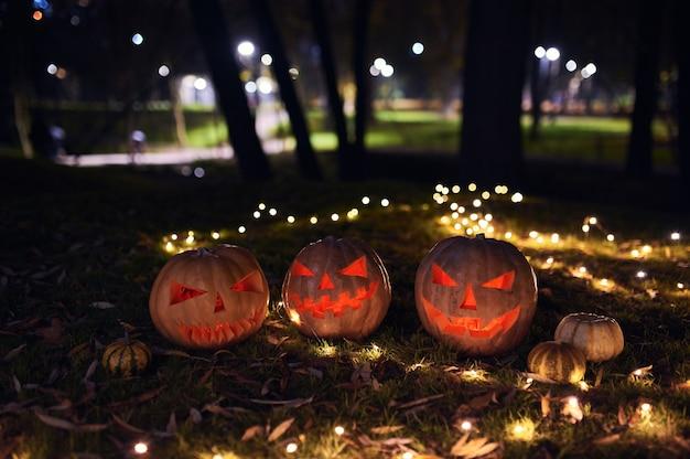 秋の公園でハロウィンのカボチャの家族