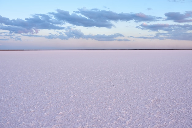 夕暮れ時のピンクの塩湖の美しい景色