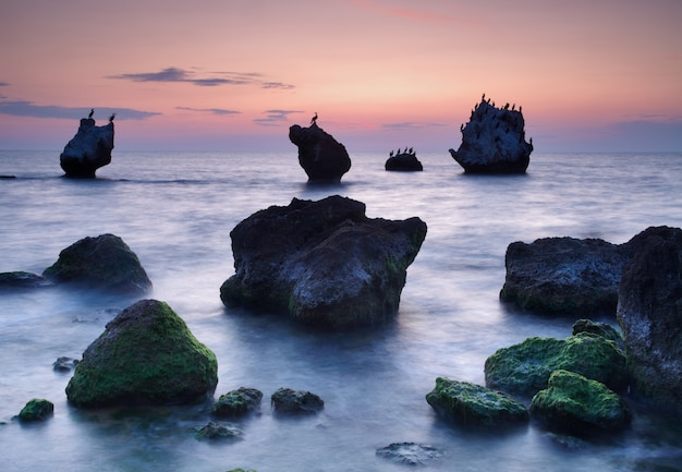カラフルな夏の海。夕暮れ時の岩だらけの海岸