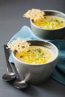 Сливочный суп из картофеля и лука-порея в миске