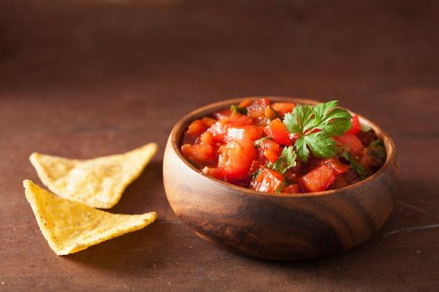 メキシコのサルサディップとナチョスのトルティーヤチップ