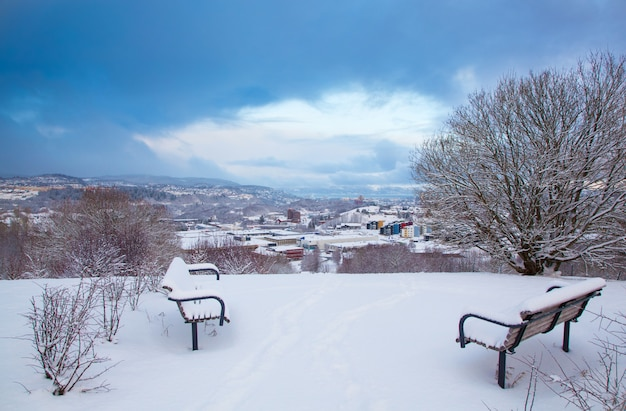 雪に覆われたトロンハイム市の冬景色