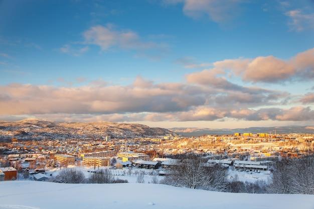 シュタイナンから雪に覆われたトロンハイム市ノルウェー