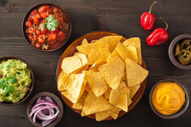 メキシコのナチョストルティーヤチップ、ワカモレ、サルサ、チーズのディップ