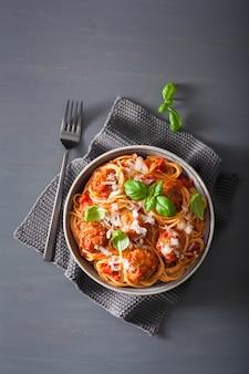 Спагетти с фрикадельками и томатным соусом