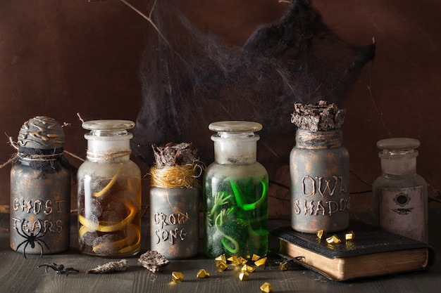 Колдунья аптекарь баночки волшебные зелья хэллоуин украшения