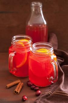 Горячий клюквенный чай с апельсиново-коричным согревающим напитком