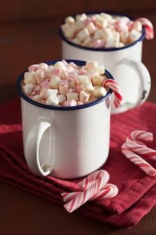 ミニマシュマロキャンディケイン付きホットチョコレート
