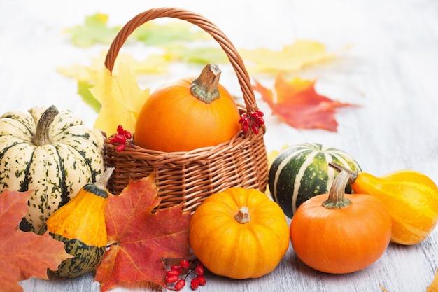 かごの中の秋のハロウィーンの装飾的なカボチャ