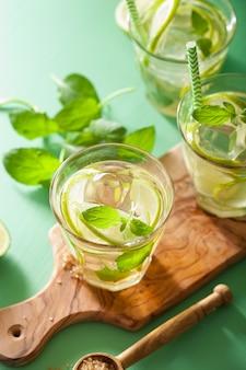 緑のテーブルで新鮮なモヒートカクテル