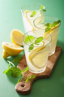 メガネのミントと新鮮なレモネード