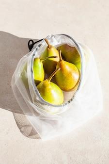 再利用可能なメッシュナイロンバッグのナシ果実