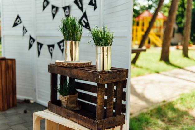 結婚式の写真ゾーン。装飾。