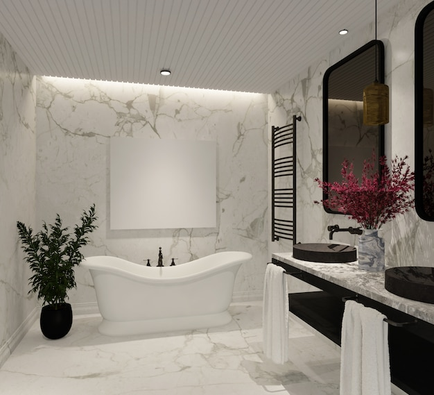 大理石の壁とバスタブ付きのモダンで豪華なバスルームのデザイン