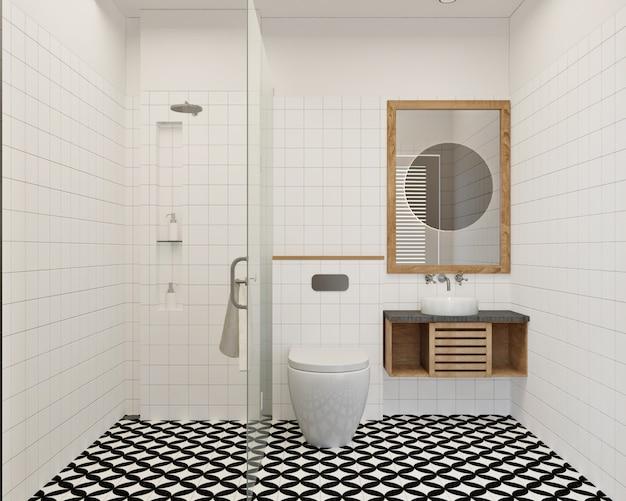 壁のタイルとパターンの床のモダンでシンプルな小さなバスルームのデザイン