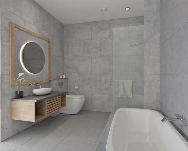 壁のタイルとバスタブ付きのモダンでシンプルな小さなバスルームのデザイン