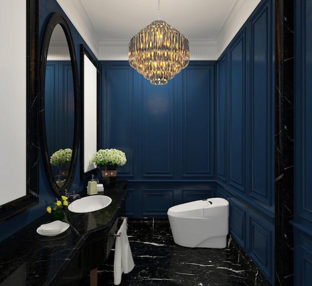 Синий современный классический дизайн дамской комнаты с люстрой