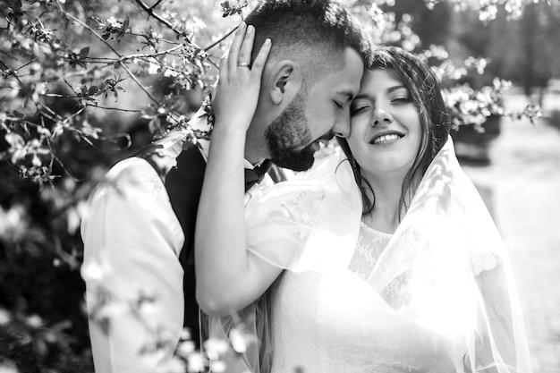 黒と白の写真。夏の草原の外のロマンチックな瞬間を楽しむ若い結婚式のカップル