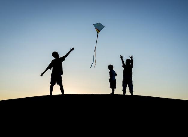 小さな男の子、夏休み、楽しみ、幸せな時間、飛行、海、海、凧