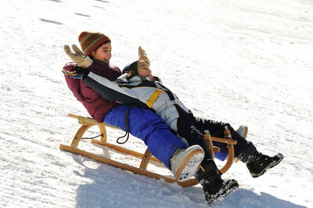 丘、雪、冬、幸福、共存の下で兄弟姉妹がそりゃ