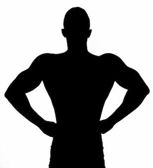 Силуэт мышцы сексуальный обнаженный молодой человек