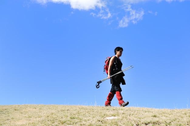 秋の山々を歩くノルディック、ハイキングの女性