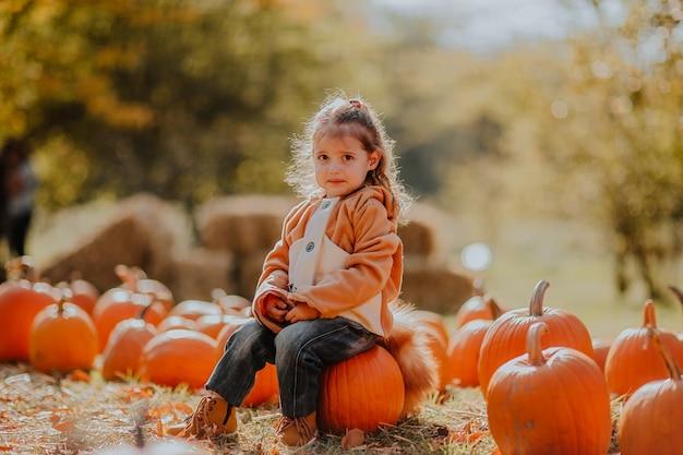 Портрет маленькой несчастной девочки в красном пальто как лиса, позирующая на тыквенном поле. копировать пространство
