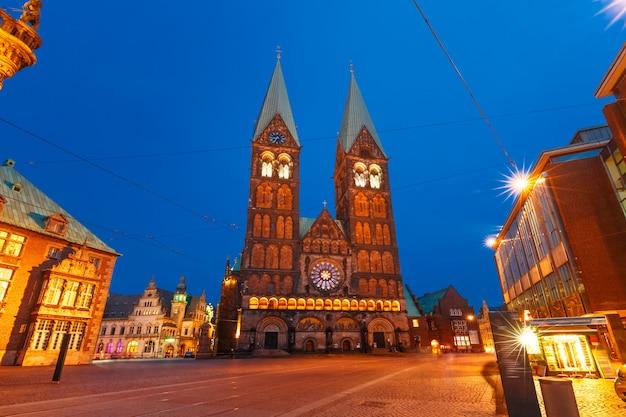 ドイツ、ブレーメンの古代ブレーメンマーケット広場