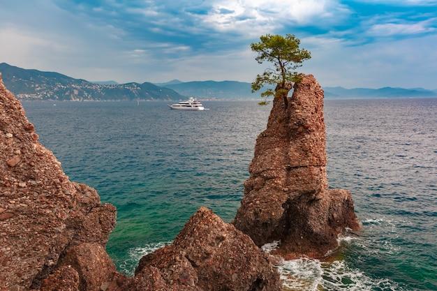 ポルトフィーノ、イタリアンリビエラ、リグーリア州の海の景色