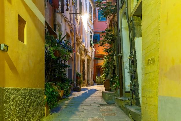 夜のヴェルナッツァ、チンクエテッレ、リグーリア州、イタリア