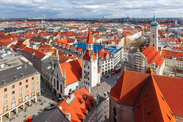 Вид с воздуха на старый город, мюнхен, германия