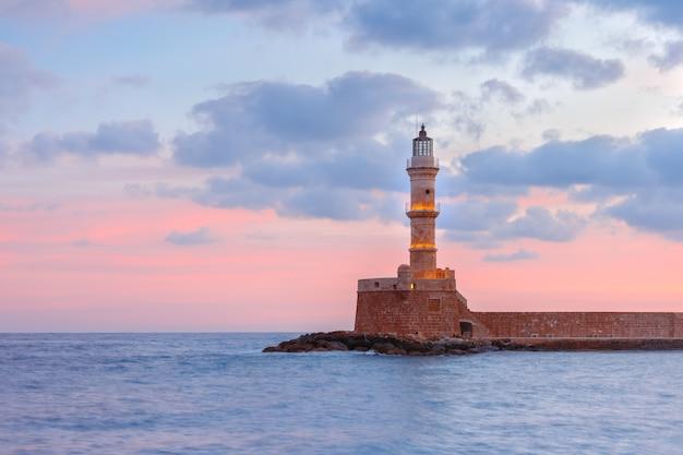 日没、ハニア、クレタ島、ギリシャの灯台