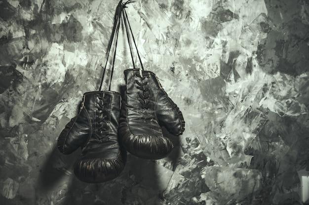 灰色の背景にボクシンググローブ
