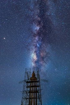 Статуя будды и млечный путь ночью, провинция накхонситхаммарат, таиланд
